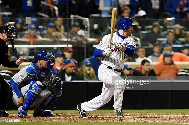 Daniel Murphy of the New York Mets bats during Game 4 of the 2015 World Series against the Kansas City Royals at Citi Field on Saturday October 31...