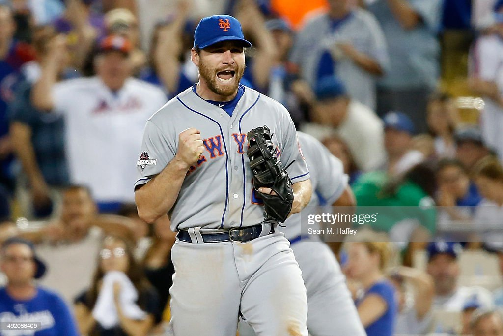 Daniel Murphy #28 of the New York Mets celebrates after the final out in the Mets 3-1 win against the Los Angeles Dodgers in game one of the National League Division Series at Dodger Stadium on October 9, 2015 in Los Angeles, California.