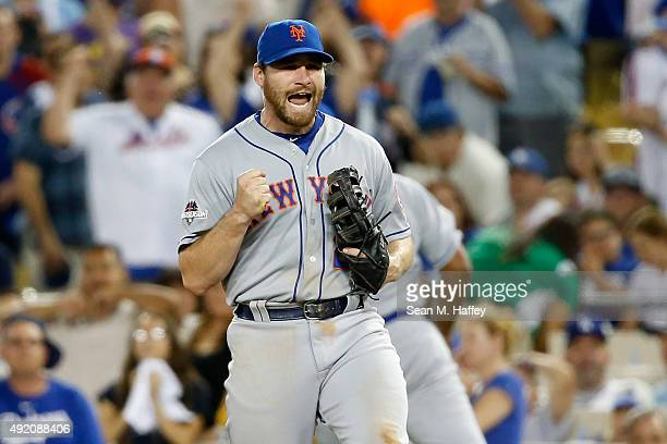Daniel Murphy of the New York Mets celebrates after the final out in the Mets 31 win against the Los Angeles Dodgers in game one of the National...