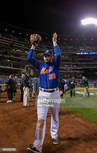 Daniel Murphy of the New York Mets celebrates defeating the Chicago Cubs in Game 2 of the NLCS at Citi Field on Sunday October 18 2015 in the Queens...