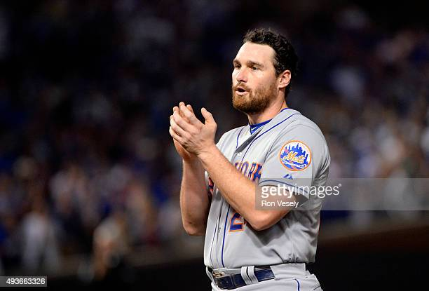 Daniel Murphy of the New York Mets cheers in the top of the fourth inning of Game 4 of the NLCS against the Chicago Cubs at Wrigley Field on...