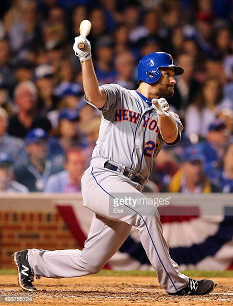 Daniel Murphy of the New York Mets hits a a double in the seventh inning against the Chicago Cubs during game four of the 2015 MLB National League...