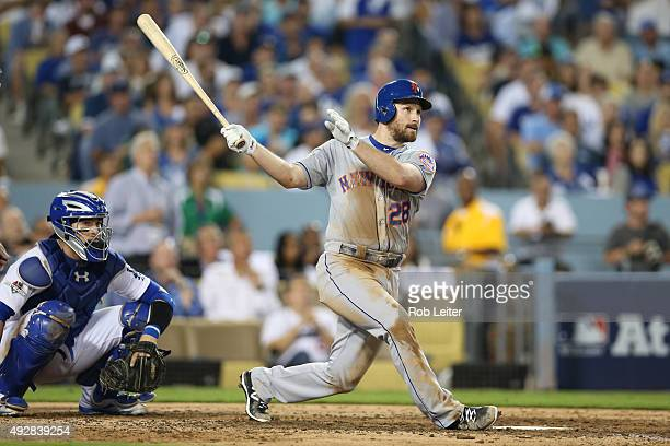 Daniel Murphy of the New York Mets hits a home run during Game 5 of the NLDS against the Los Angeles Dodgers at Dodgers Stadium on Thursday October...