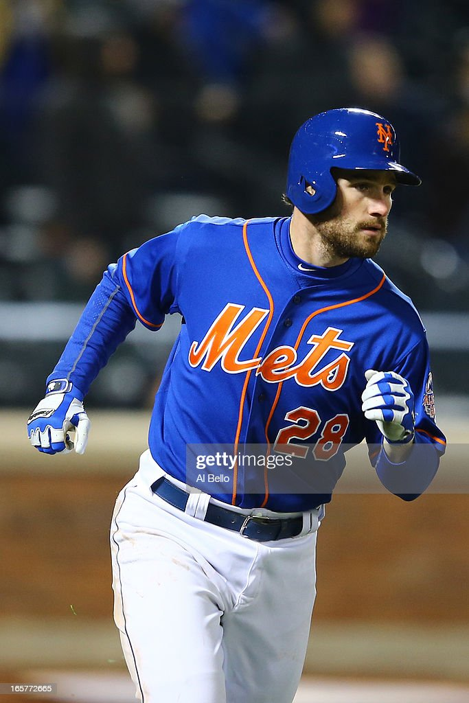 Daniel Murphy #28 of the New York Mets hits a home run in the seventh inning against the Miami Marlins during their game on April 5, 2013 at Citi Field in the Flushing neighborhood of the Queens borough of New York City.