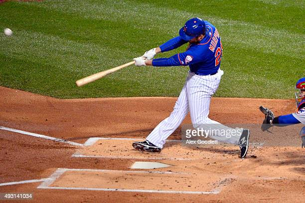 Daniel Murphy of the New York Mets hits a solo home run in the first inning against Jon Lester of the Chicago Cubs during game one of the 2015 MLB...