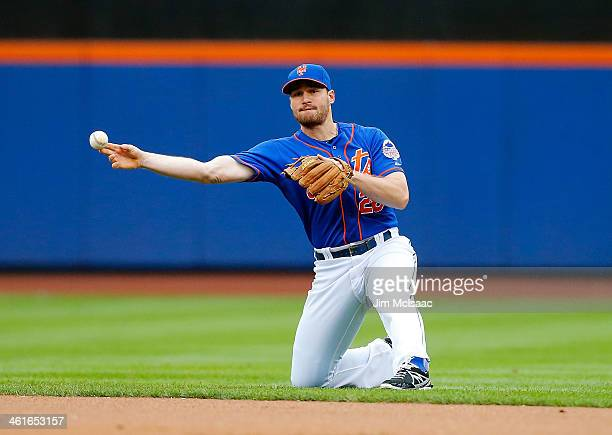 Daniel Murphy of the New York Mets in action against the Atlanta Braves at Citi Field on July 25 2013 in the Flushing neighborhood of the Queens...