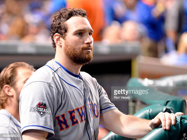 Daniel Murphy of the New York Mets is seen in the dugout during Game 4 of the NLCS against the Chicago Cubs at Wrigley Field on Wednesday October 21...