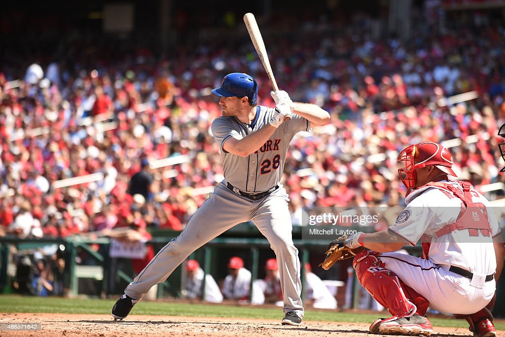 Daniel Murphy of the New York Mets prepares for a pitch during a baseball game against the Washington Nationals at Nationals Park on September 7 2015...