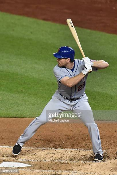 Daniel Murphy of the New York Mets prepares for a pitch during a baseball game against the Washington Nationals at Nationals Park on September 09...