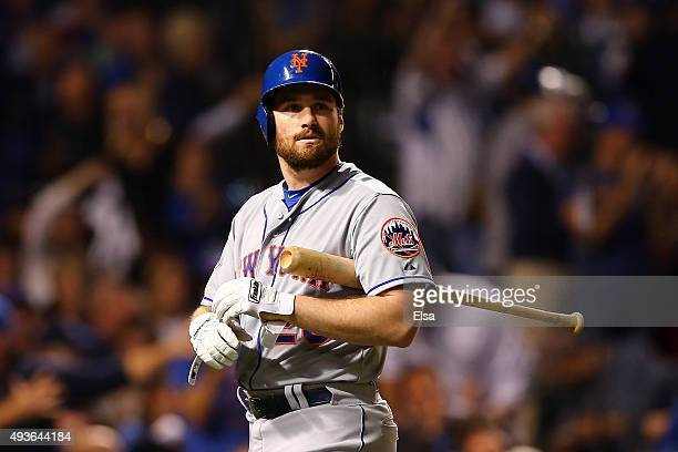 Daniel Murphy of the New York Mets reacts after fouling out in the first inning against the Chicago Cubs during game four of the 2015 MLB National...