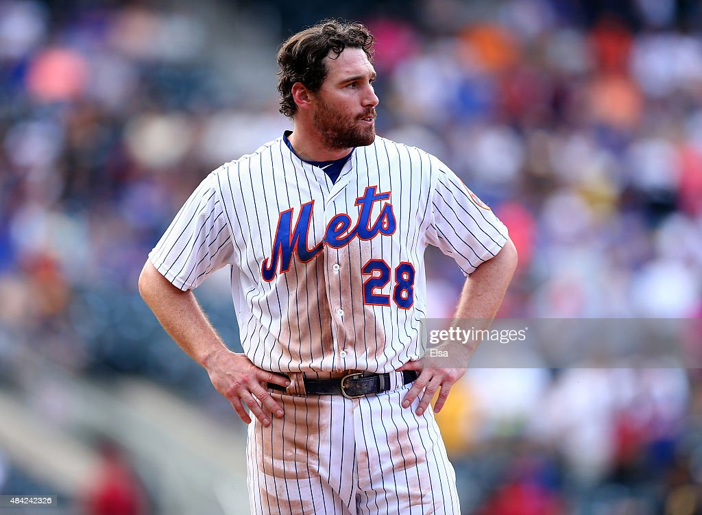 Daniel Murphy #28 of the New York Mets reacts after he is out at first to tend the eighth inning against the Pittsburgh Pirates on August 16, 2015 at Citi Field in the Flushing neighborhood of the Queens borough of New York City.The Pittsburgh Pirates defeated the New York Mets 8-1.