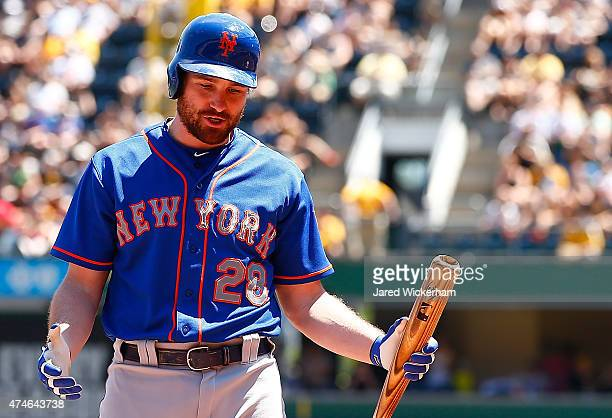 Daniel Murphy of the New York Mets reacts after striking out in the second inning against the Pittsburgh Pirates during the game at PNC Park on May...