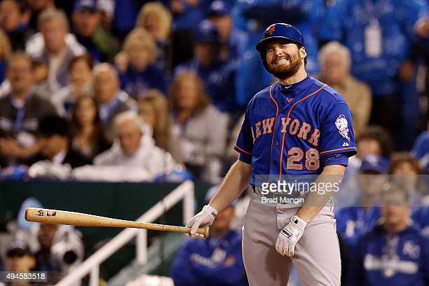 Daniel Murphy of the New York Mets reacts after striking out in the first inning during Game 1 of the 2015 World Series against the Kansas City...