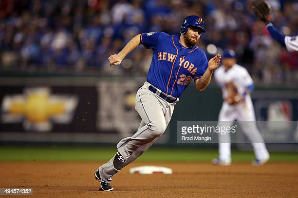 Daniel Murphy of the New York Mets runs to third base during Game 1 of the 2015 World Series against the Kansas City Royals at Kauffman Stadium on...