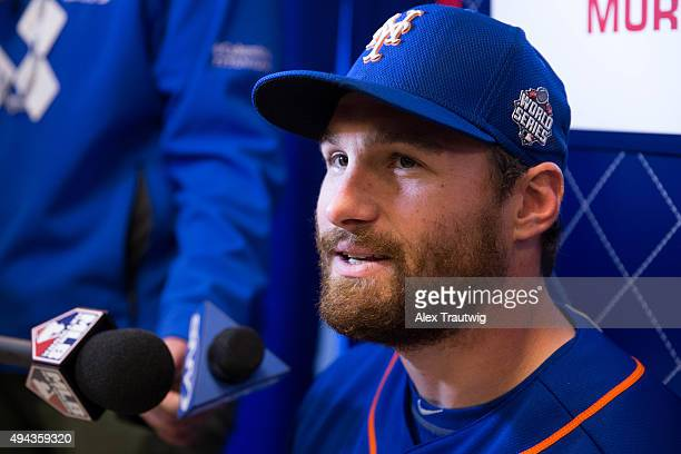 Daniel Murphy of the New York Mets speaks to the media during the 2015 World Series Media Availability Day at Kauffman Stadium on Monday October 25...