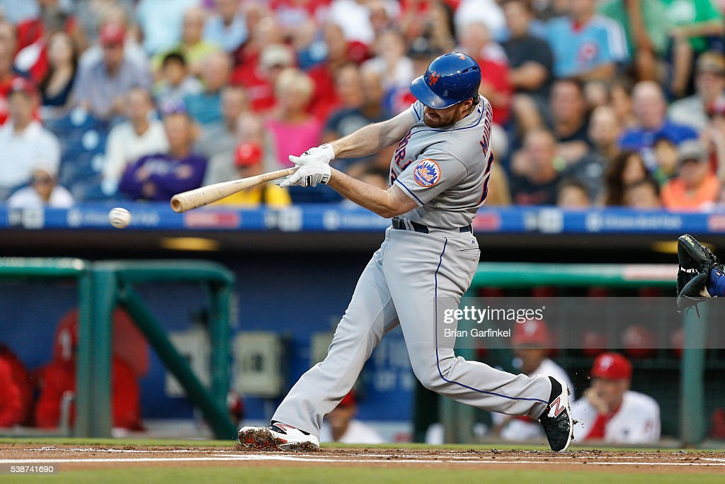 Daniel Murphy of the New York Mets swings at a pitch during the game against the Philadelphia Phillies at Citizens Bank Park on August 26 2015 in...