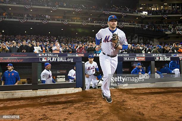 Daniel Murphy of the New York Mets takes the field prior to Game 3 of the 2015 World Series against the Kansas City Royals at Citi Field on Friday...