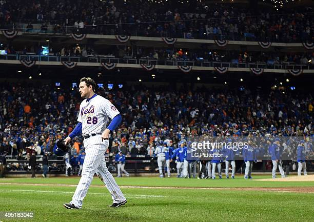 Daniel Murphy of the New York Mets walks back to the dugout during Game 4 of the 2015 World Series against the Kansas City Royals at Citi Field on...