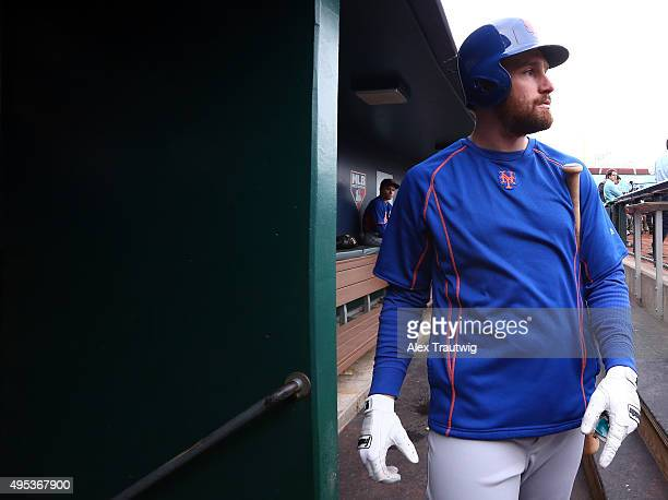 Daniel Murphy of the New York Mets walks in the dugout during the 2015 World Series Media Day workouts at Kauffman Stadium on Monday October 25 2015...