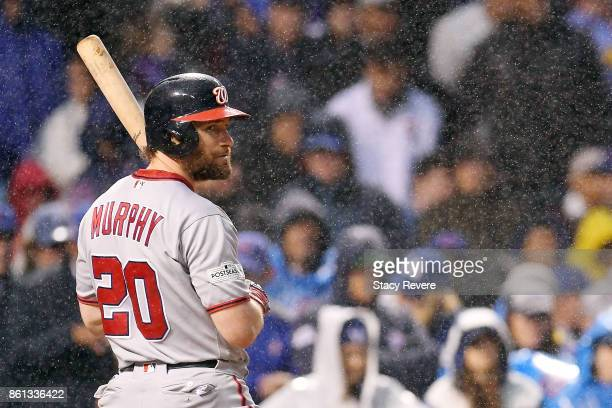 Daniel Murphy of the Washington Nationals at bat during game four of the National League Division Series against the Chicago Cubs at Wrigley Field on...