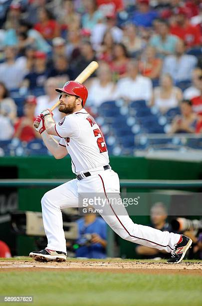 Daniel Murphy of the Washington Nationals bats against the Atlanta Braves at Nationals Park on August 12 2016 in Washington DC