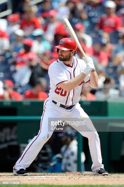 Daniel Murphy of the Washington Nationals bats against the Los Angeles Angels at Nationals Park on August 16 2017 in Washington DC