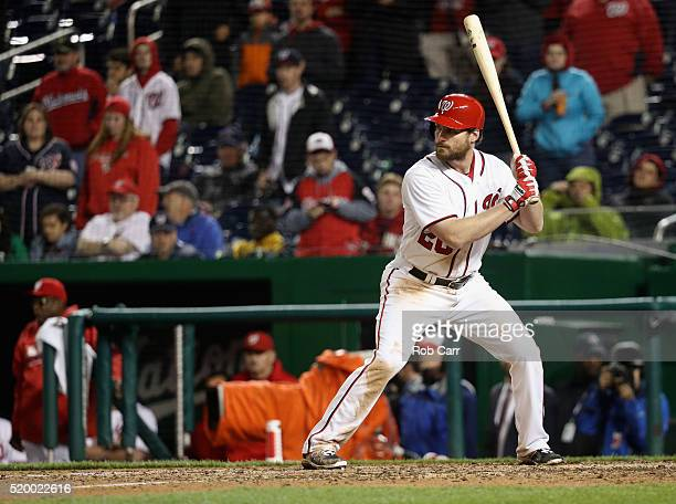 Daniel Murphy of the Washington Nationals bats against the Miami Marlins in the ninth inning of the Nationals opening day game at Nationals Park on...
