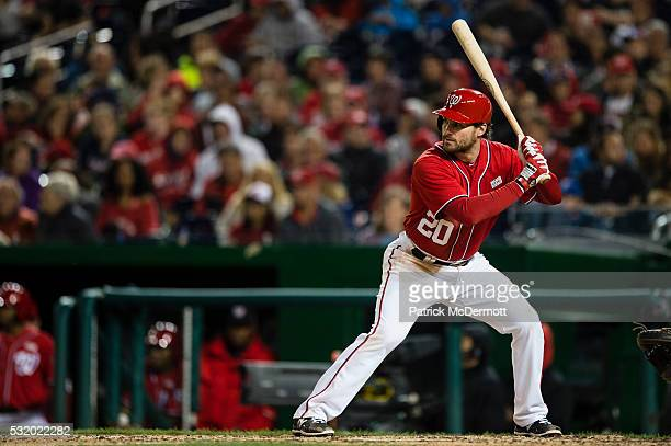 Daniel Murphy of the Washington Nationals bats against the Miami Marlins in the fifth inning during a MLB baseball game at Nationals Park on May 14...