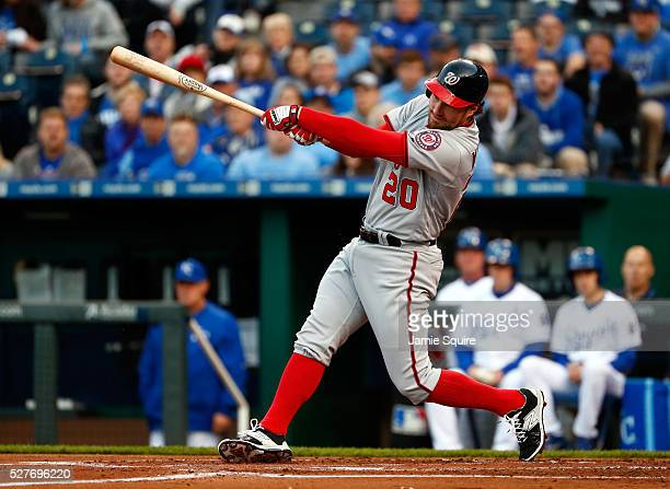 Daniel Murphy of the Washington Nationals bats during the game against the Kansas City Royals on May 02 2016 in Kansas City Missouri