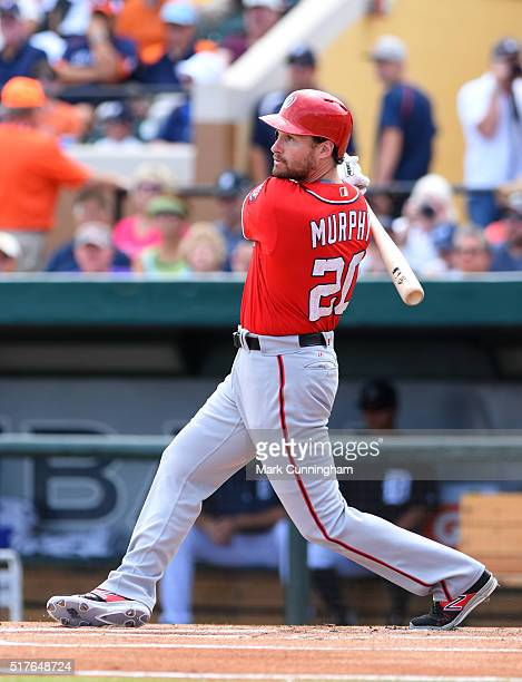 Daniel Murphy of the Washington Nationals bats during the Spring Training game against the Detroit Tigers at Joker Marchant Stadium on March 20 2016...