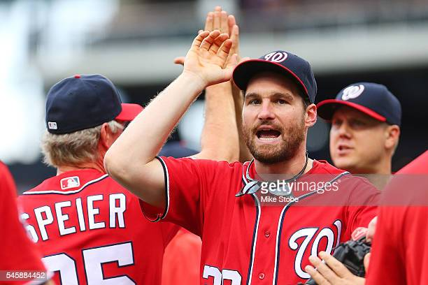 Daniel Murphy of the Washington Nationals celebrates after defeating the New York Mets 32 at Citi Field on July 10 2016 in the Flushing neighborhood...