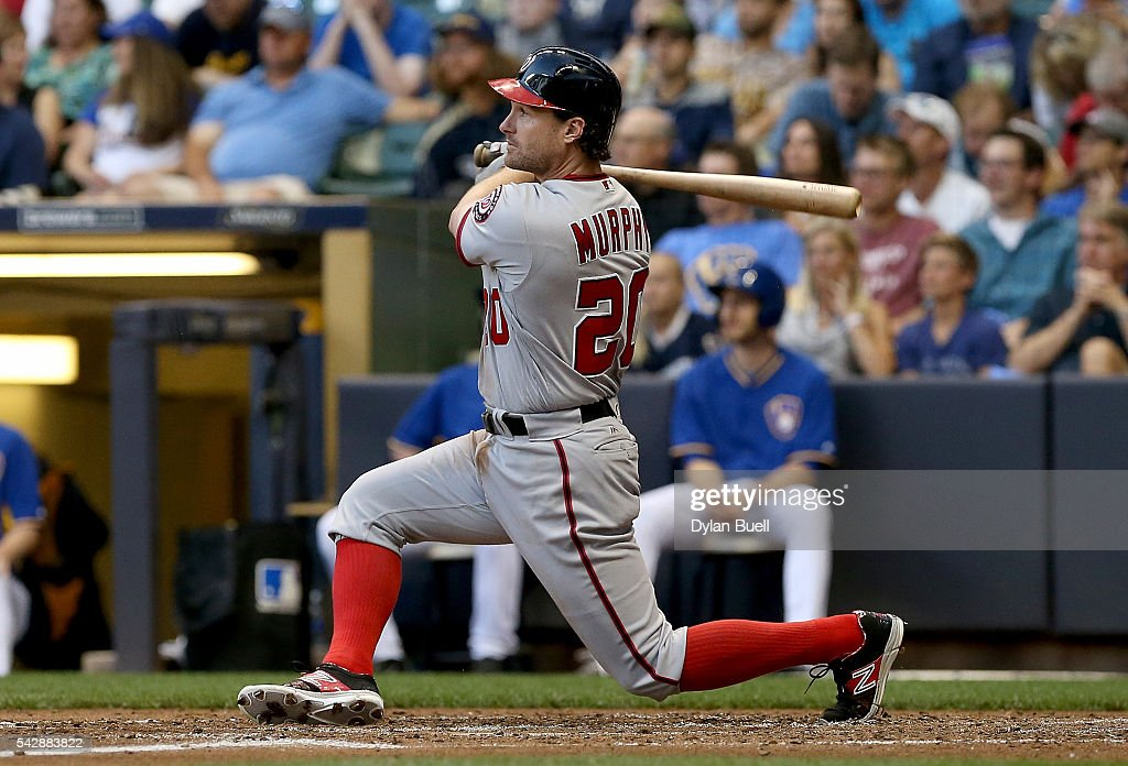 Daniel Murphy #20 of the Washington Nationals hits a double in the third inning against the Milwaukee Brewers at Miller Park on June 24, 2016 in Milwaukee, Wisconsin.