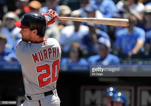Daniel Murphy of the Washington Nationals hits a tworun double in the first inning against the Kansas City Royals at Kauffman Stadium on May 4 2016...