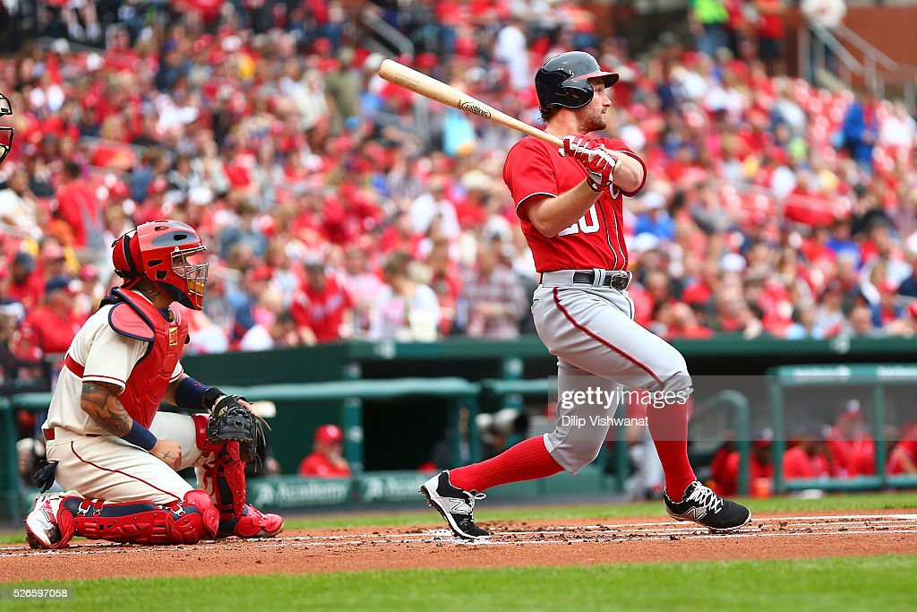 <a gi-track='captionPersonalityLinkClicked' href=/galleries/search?phrase=Daniel+Murphy+-+Baseball+Player&family=editorial&specificpeople=8610809 ng-click='$event.stopPropagation()'>Daniel Murphy</a> #20 of the Washington Nationals hits an RBI single against the St. Louis Cardinals in the first inning at Busch Stadium on April 30, 2016 in St. Louis, Missouri.