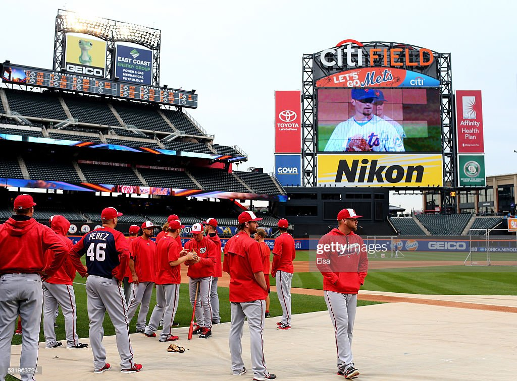 Daniel Murphy of the Washington Nationals looks on with the rest of his teammates during batting practice at Citi Field on May 17 2016 in the...