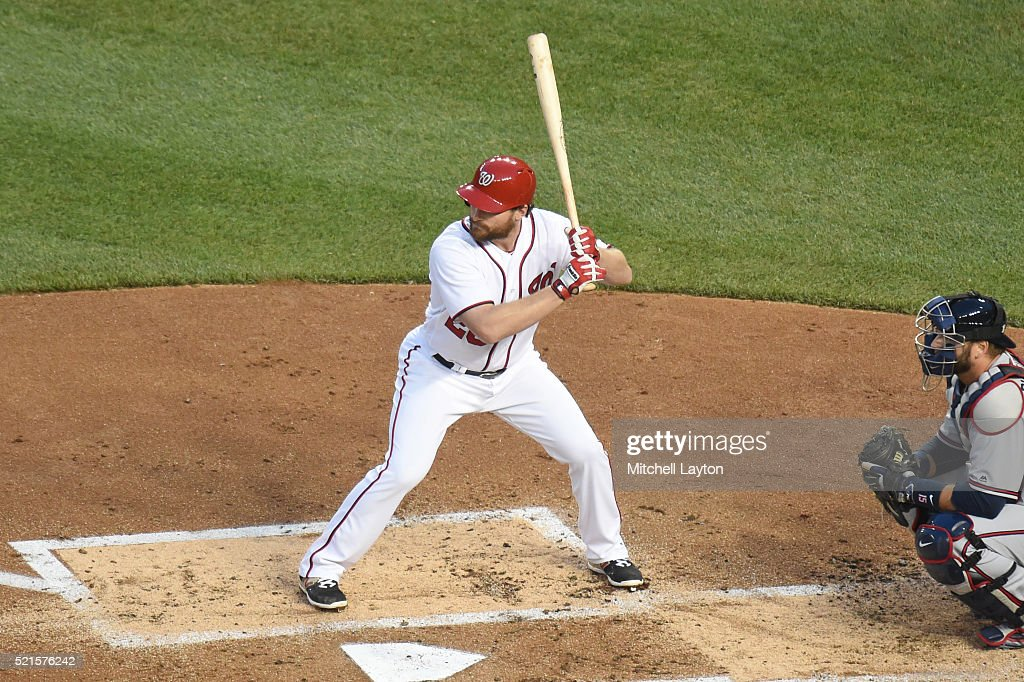 Daniel Murphy of the Washington Nationals prepares for a pitch during a baseball game against the Atlanta Braves at Nationals Park on April 11 2016...