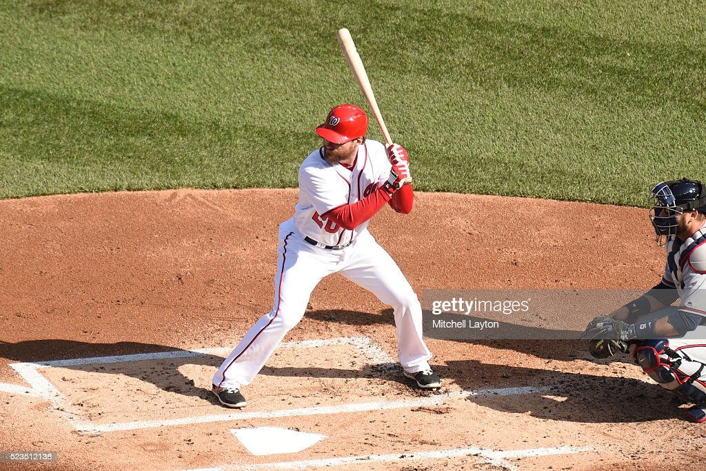 Daniel Murphy of the Washington Nationals prepares for a pitch during a baseball game against the Atlanta Braves at Nationals Park on April 14 2016...