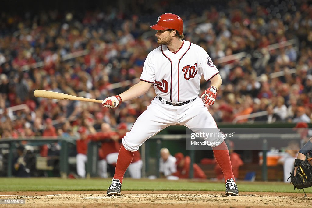 Daniel Murphy of the Washington Nationals prepares for a pitch during a baseball game against the Detroit Tigers at Nationals Park on May 9 2016 in...