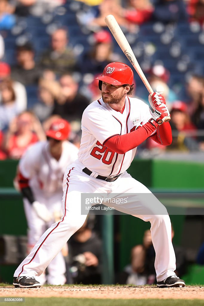 Daniel Murphy of the Washington Nationals prepares for a pitch during a baseball game against the Miami Marlins at Nationals Park on May 15 2016 in...