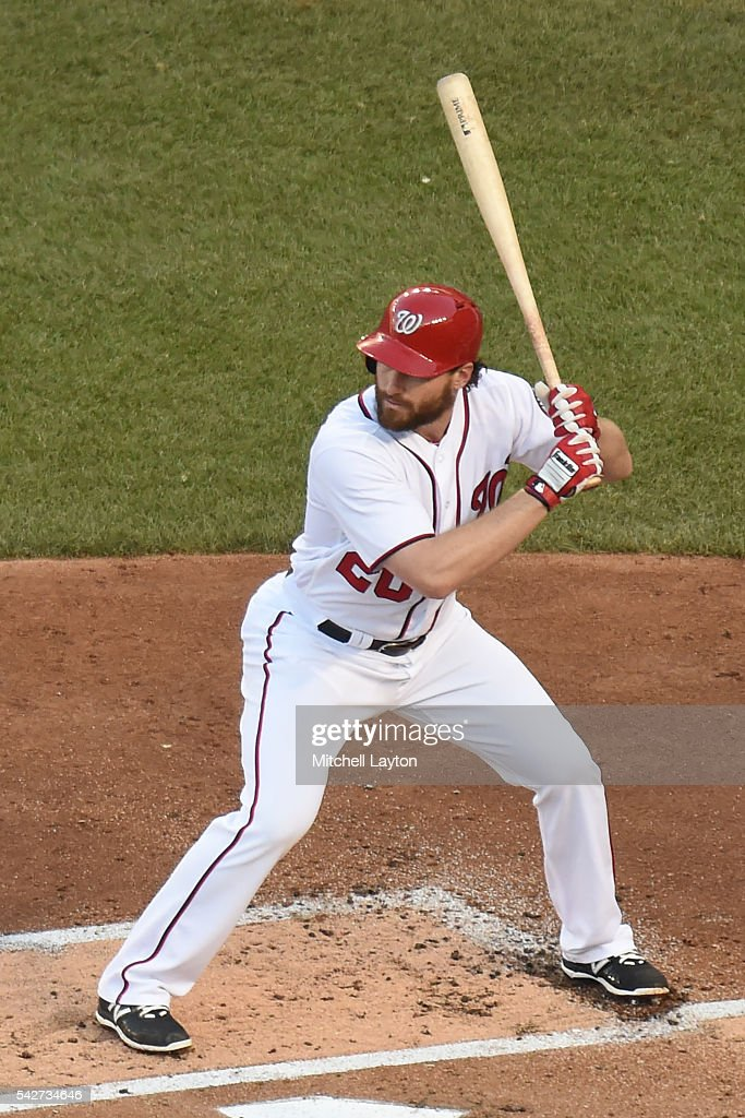 Daniel Murphy of the Washington Nationals prepares for a pitch during a baseball game against the Chicago Cubs at Nationals Park on June 14 2016 in...