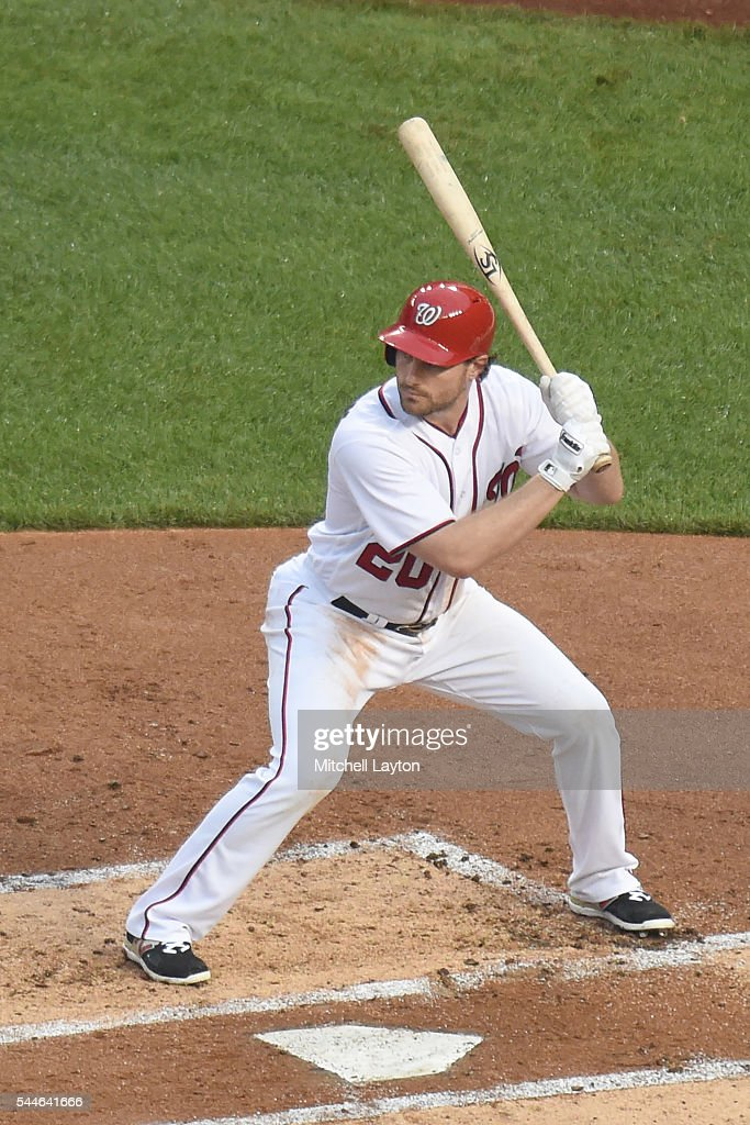 Daniel Murphy of the Washington Nationals prepares for a pitch during a baseball game against the New York Mets at Nationals Park on June 27 2016 in...
