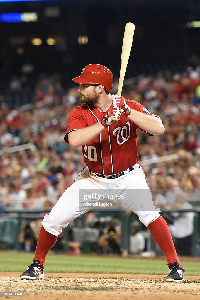 Daniel Murphy of the Washington Nationals prepares for a pitch during a baseball game against the San Diego Padres at Nationals Park on July 23 2016...