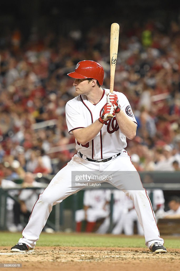 Daniel Murphy of the Washington Nationals prepares for a pitch during a baseball game against the Atlanta Braves at Nationals Park on August 13 2016...