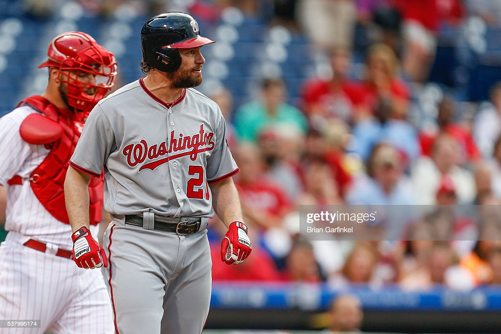 Daniel Murphy of the Washington Nationals reacts after being hit by a pitch during the game against the Philadelphia Phillies at Citizens Bank Park...