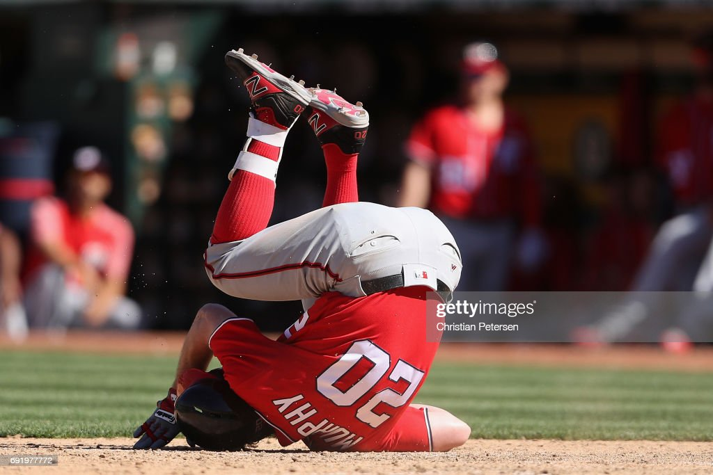 Daniel Murphy #20 of the Washington Nationals reacts after being hit by a pitch during the ninth inning of the MLB game against the Oakland Athletics at Oakland Coliseum on June 3, 2017 in Oakland, California. The Athletics defeated the Nationals 10-4.