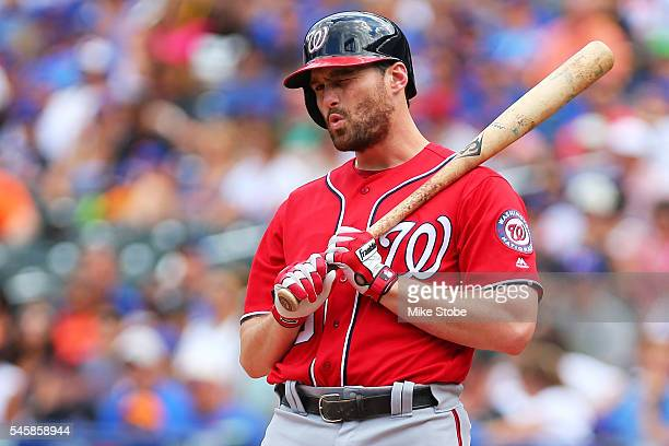 Daniel Murphy of the Washington Nationals reacts to a called strike in the first inning against the New York Mets at Citi Field on July 10 2016 in...