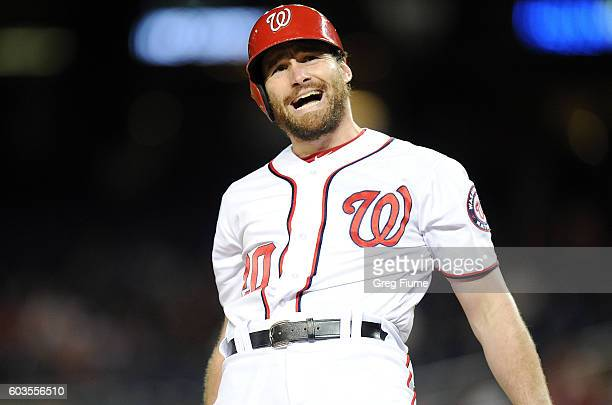 Daniel Murphy of the Washington Nationals reacts to an inside pitch during the second inning against the New York Mets at Nationals Park on September...