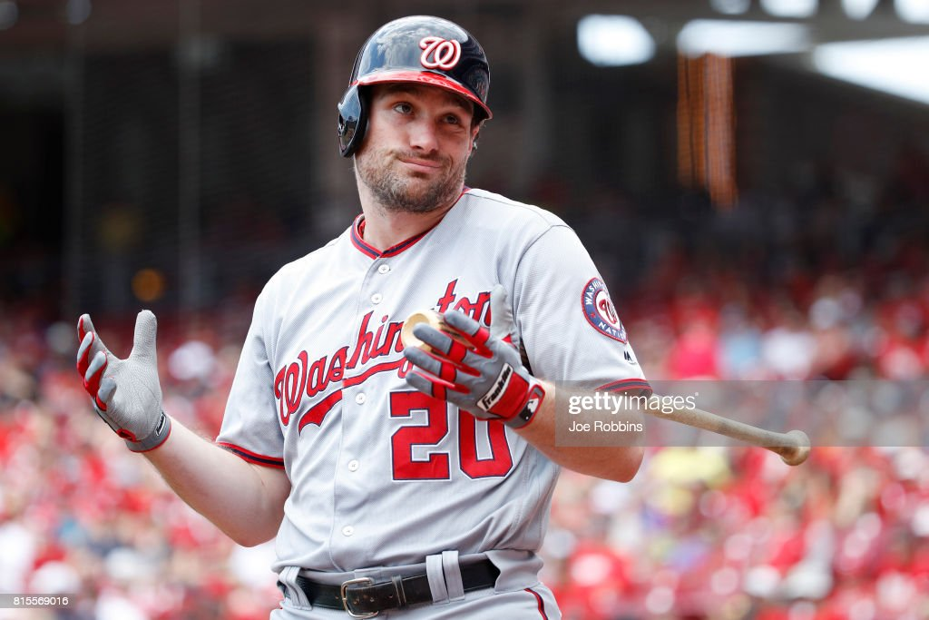 Daniel Murphy #20 of the Washington Nationals reacts while waiting to bat in the first inning of a game against the Cincinnati Reds at Great American Ball Park on July 16, 2017 in Cincinnati, Ohio.