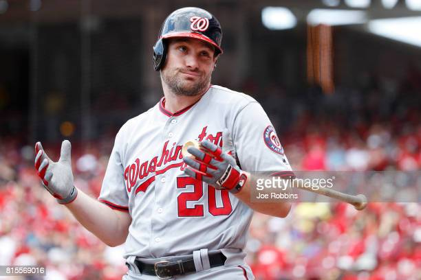 Daniel Murphy of the Washington Nationals reacts while waiting to bat in the first inning of a game against the Cincinnati Reds at Great American...