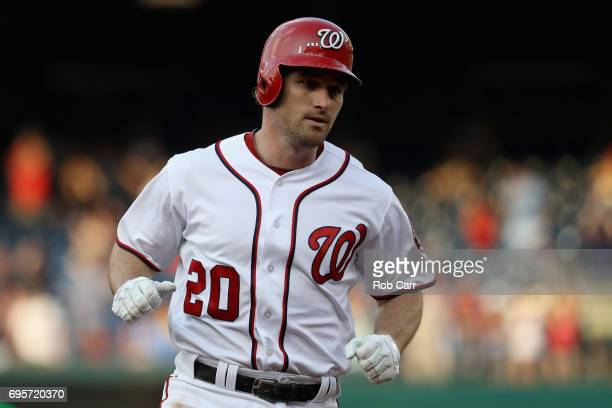 Daniel Murphy of the Washington Nationals rounds the bases after hitting a first inning solo home run against the Atlanta Braves at Nationals Park on...